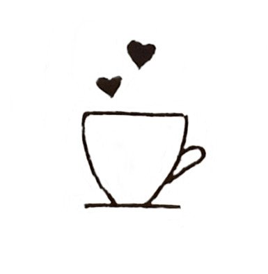 hand drawn coffee cup with two hearts above